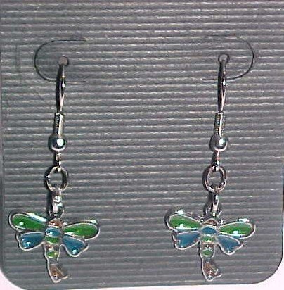 Stained Glass Green and Turquoise Dragonfly Butterfly Earrings (Pierced Ears)