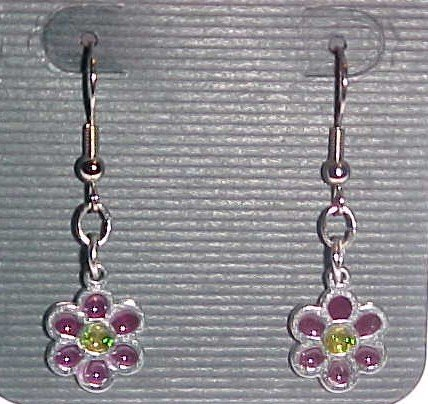 Stained Glass Purple and Yellow Flower Earrings (Pierced Ears)