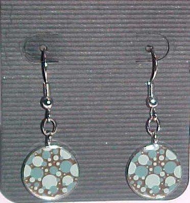 Retro Blue and Brown Bubble Earrings  (Pierced Ears)
