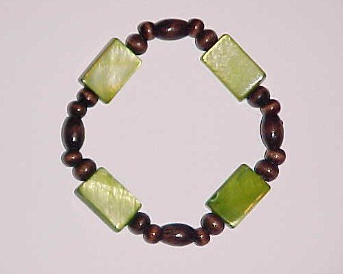 Boho Green and Brown Wooden Beaded Stretch Bracelet 6 - 6.5 inches