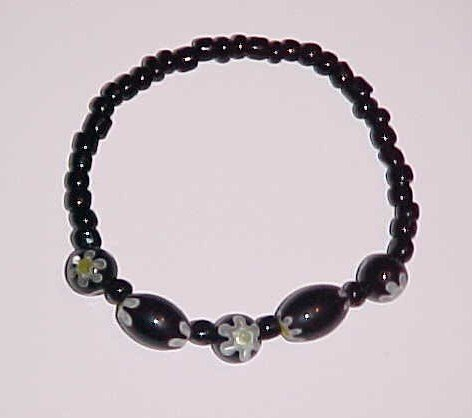 Black and Green Millefiori Glass Beaded Stretch Bracelet 6 - 6.5 inches