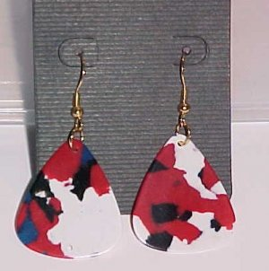 Hot Rocker Chick Guitar Pick Earrings- Red Multi-Colored (Pierced Ears)