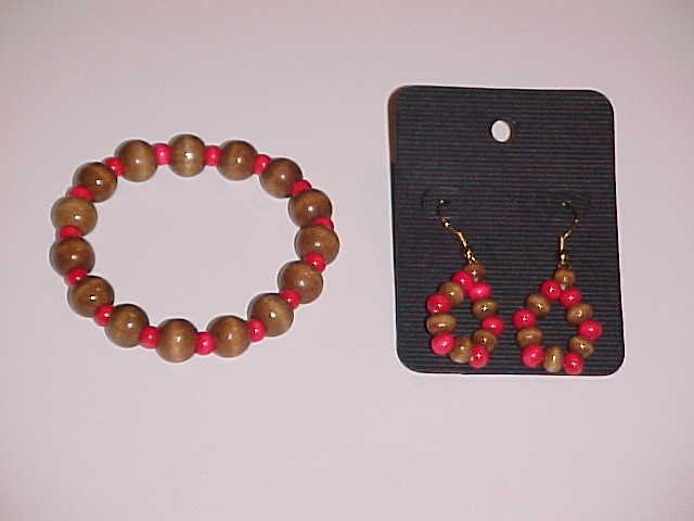 Brown and Red Wooden Beaded Stretch Bracelet and Earring Set  (Pierced Ears)
