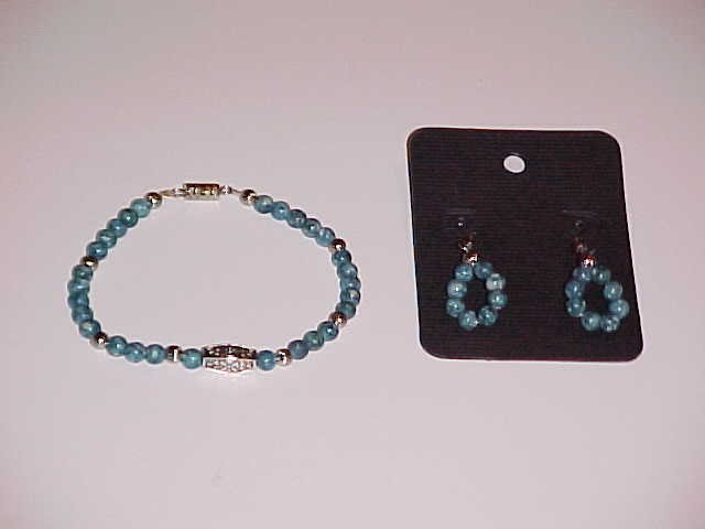 Teal and White Swirl Beaded Bracelet and Earring Set  (Pierced Ears)