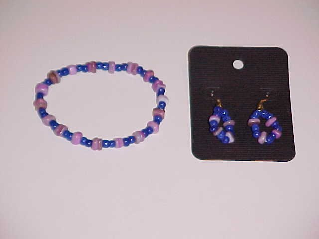 Lilac and Blue Beaded Stretch Bracelet and Earring Set  (Pierced Ears)