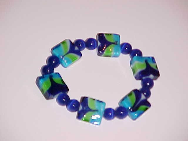 (SOLD) Blue, Lime Green, and Turquoise Beaded Stretch Bracelet 7 inches
