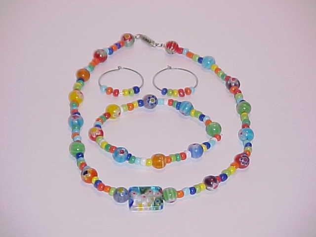 Multi-Colored Millefiori Glass Beaded Stretch Bracelet, Necklace & Earring Set  (Pierced Ears)