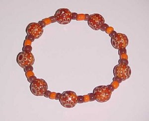 Orange and Brown Beaded Stretch Bracelet 6 inches