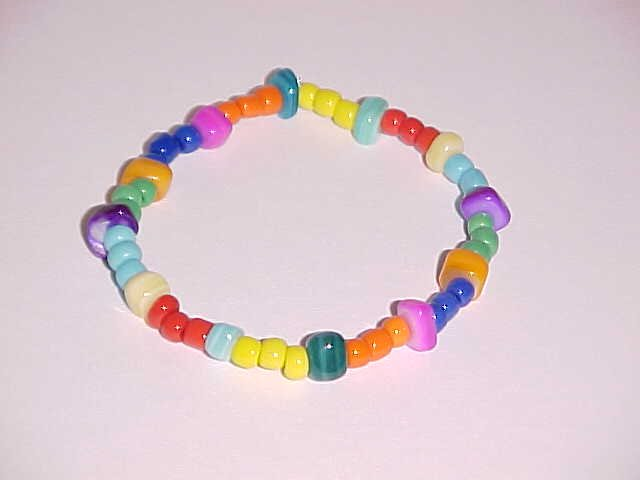 Candy Colored Beaded Stretch Bracelet No.2   6 - 6.5 inches