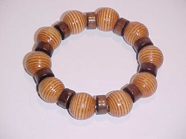 Tan Striped Beaded Wooden Stretch Bracelet No.2   7 inches