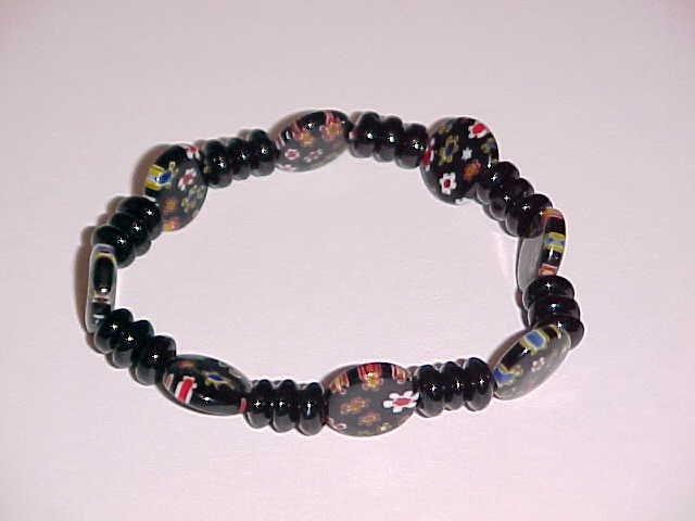 (SOLD) Black Red White Millefiori Glass Beaded Stretch Bracelet 7 inches