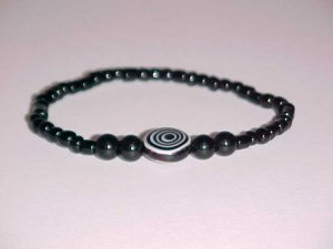 Black Hypnotic Eye Beaded Stretch Bracelet 7 inches