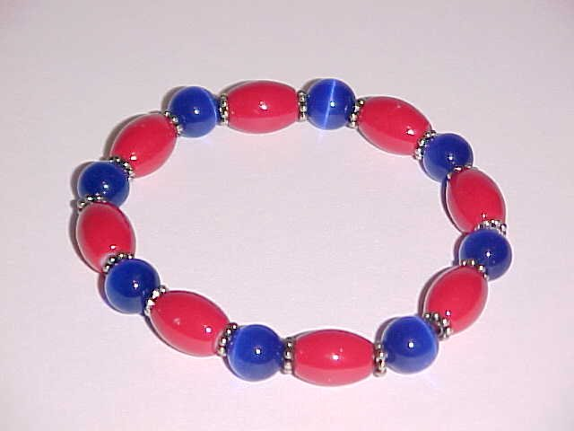 Red and Blue Glass Beaded Stretch Bracelet 7 inches