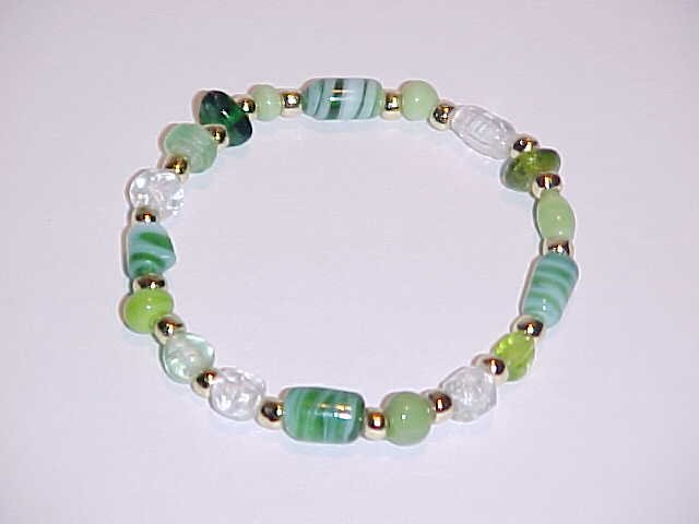 Cool Green and Gold Beaded Stretch Bracelet 7 inches