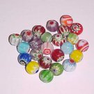 1 Lot of 24 Mixed Millefiori Round Beads 8mm