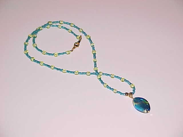Turquoise and Lime Green Pendant Necklace 18 inches