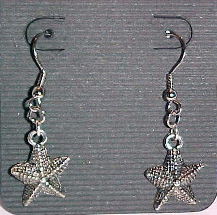 Silver-Tone Starfish Earrings (Pierced Ears)