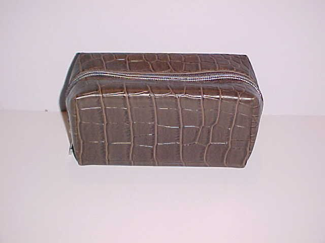 (SOLD)  Brown and Tan Michael Kors Faux Alligator Skin Eyeglass/Sunglass Case With Cleaning Cloth