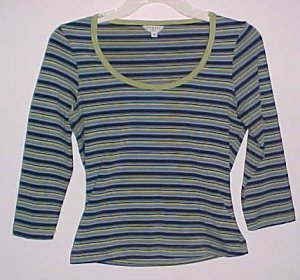 (Charity) Guess Striped Knit Top Scoop Neck 3/4 Sleeve (Size Medium)