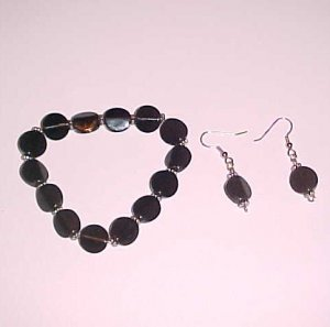 Black and Silver Bracelet and Earring Set