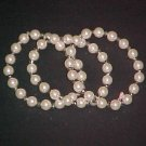 Set of 3 Faux Pearl Stretch Bracelets 7 - 7.5 inches