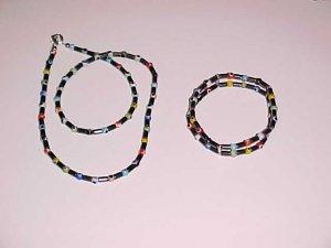Double Protection Hematite Evil Eye Bracelet and Necklace Set