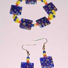 Blue Red Yellow Millefiori Bracelet and Earring Set