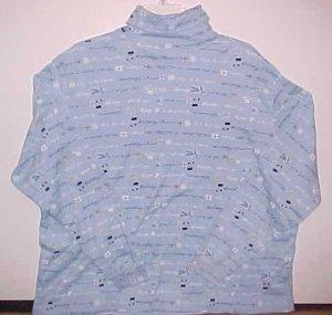 Classic Elements Woman 2X 20W 22W Lt Blue Holiday Knit Turtleneck Long Sleeve