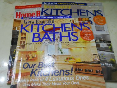 Lot of 3 House Beautiful Kichens Baths Magazines March/April 2005 May/June 2005