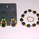 3 Piece Rasta Bracelet Ring and Earrings Set by Island Junkee