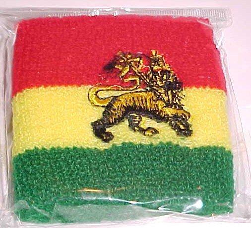 (SOLD) Rasta Lion of Judah Wristbands/Sweatbands (1 pair)