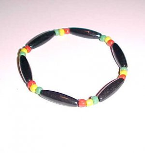 Totally Tubular Rasta Stretch Bracelet 7 - 7.5 inches Unisex by Island Junkee