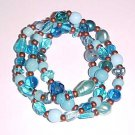 Set of 3 Aqua and Copper Stretch Bracelets 7 - 7.5 inches by Island Junkee