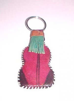 African Handcrafted Leather Keychain Key Chain from Kenya