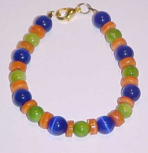 Vibrant Blue Green Orange Beaded Bracelet 7 inches by Island Junkee