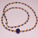 Vibrant Blue Green Orange Beaded Necklace 21 inches by Island Junkee