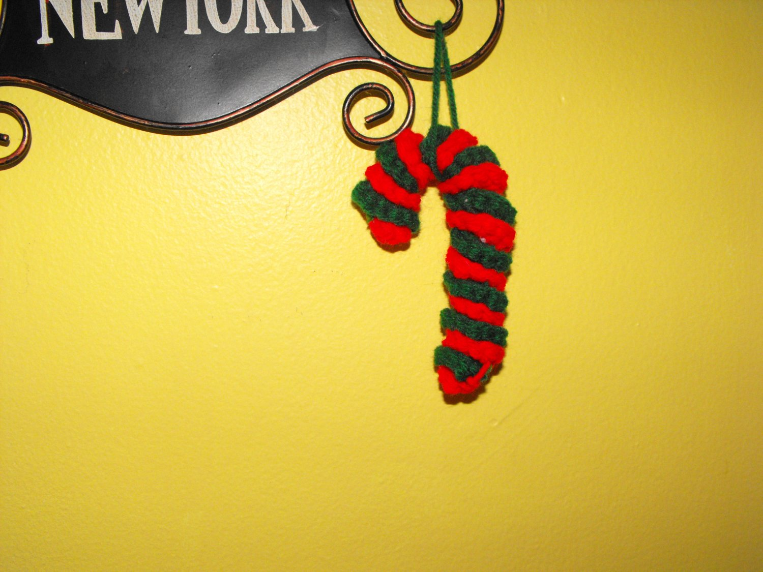 Crocheted Red and Green Candy Cane Christmas Tree Ornament