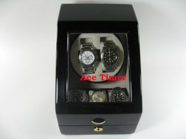 Double (2) Watch Winder Black Lacquer + 3 storage Slots (6 settings) Rolex Omega