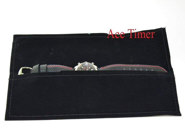 Pack of 3 x 1 Watch Black Velvet Long Pouch Case Fits up to 55mm