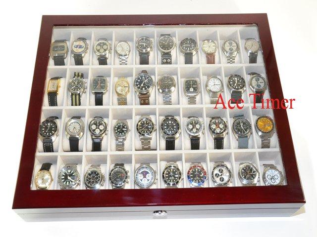 40 Watch (Premium Series) 1 Level Rosewood Display Storage Case Box + Cloth