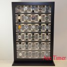 30 Watch Black Lacquer Stand Wall Display Case Fit up to 60mm + Polishing Cloth