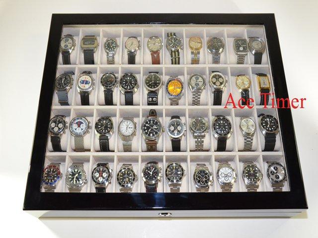 40 Watch (premium Series) 1 Level Black Lacquer Display Storage Case Box + Gift