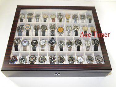 40 Watch (Premium Series) 1 Level Ebony Display Storage Case Box + Gift