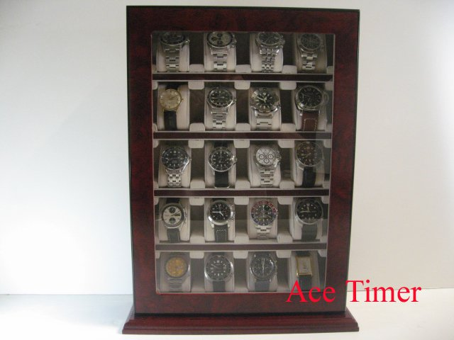 20 Watch Wooden Stand Wall Display Storage Case Box Fit up to 60mm + Cloth