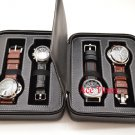 4 Watch Black Genuine Leather Zippered Traveling & Storage Case Fits Up to 60mm