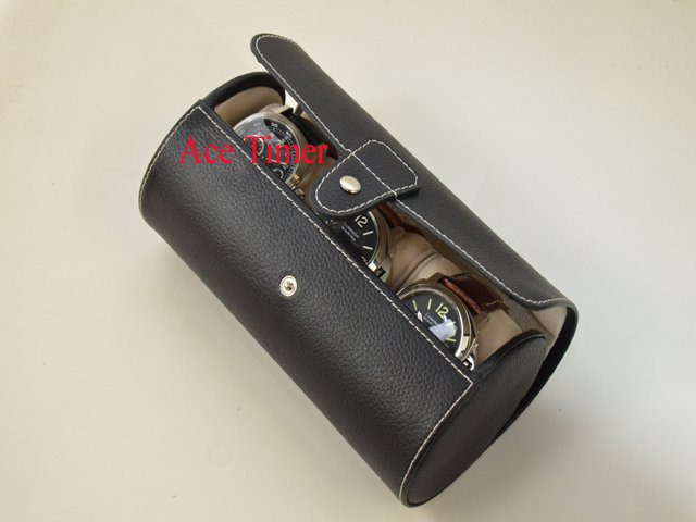 3 Watch Oval Black Genuine Leather Traveling Storage Case Fits up to 57mm