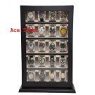 20 Watch Stand Wall Black Lacquer Display Case Box Fits up to 60mm + Cloth
