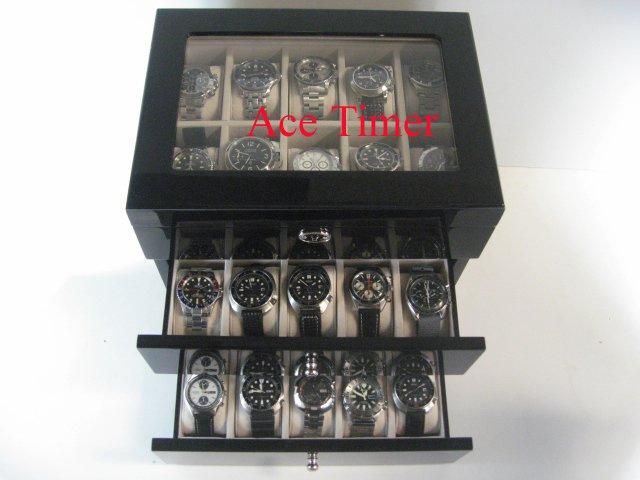 30 watch (Premium Series) Black Lacquer Display & Storage Case Box + Gift