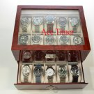 20-watch Glass Top Burlwood Display & Storage Case Box + Free Polishing Cloth