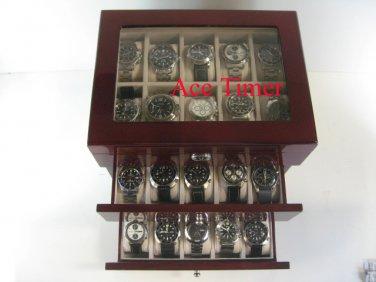 30 watch Glass Top Rosewood Display Storage Case + Polishing Cloth